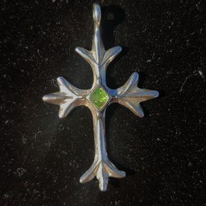 Antique sterling emerald cross pendant